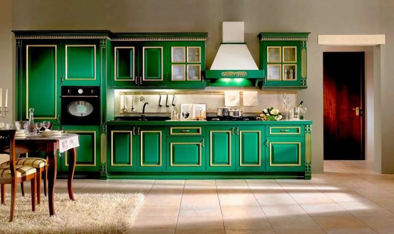 Сочетание-зеленого-цвета-в-интерьере-кухни