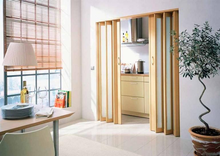 Двери гармошка в интерьере