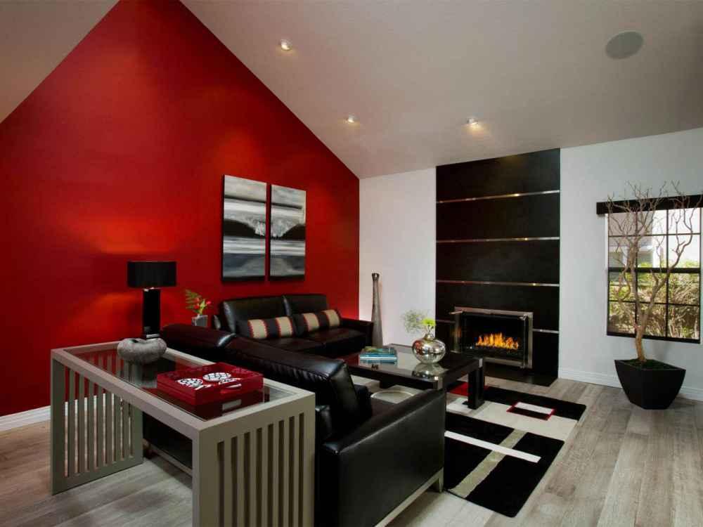 Тонкости красного цвета в интерьере гостиной