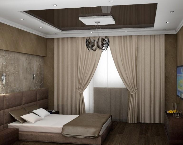 Оформление потолков в спальной комнате