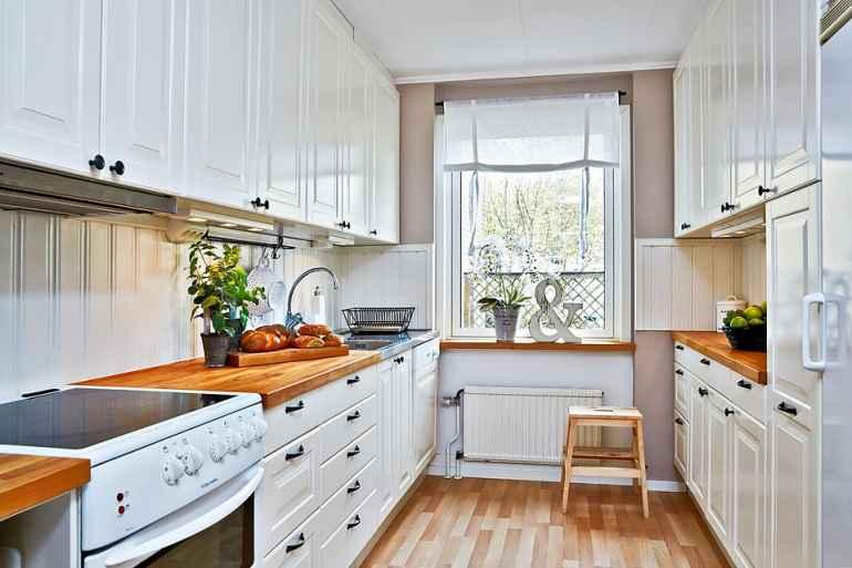 Как визуально расширить узкую кухню